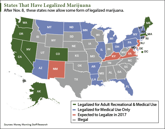 MAP States Legalizing Marijuana In - Us map of legal weed 2017